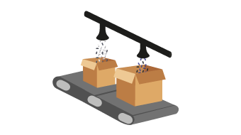 Illustration of cardboard boxes being filled with plastic pellets