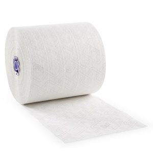 Jumbo roll of Scott® hard roll paper towels featuring brand name on sheets