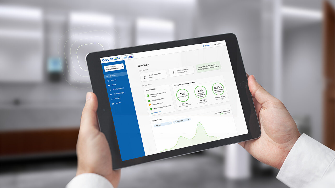 Onvation is a connected software solution that brings intelligence, flexibility and ease-of-use to restroom servicing