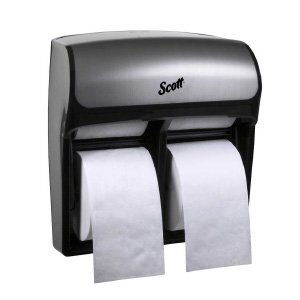 A chrome and black Scott® Pro 4 roll standard toilet paper dispenser on a white background.