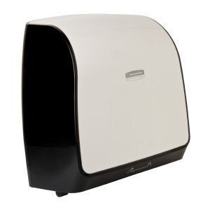 A white and black Scott® Control slimroll hard roll towel dispenser on a white background.
