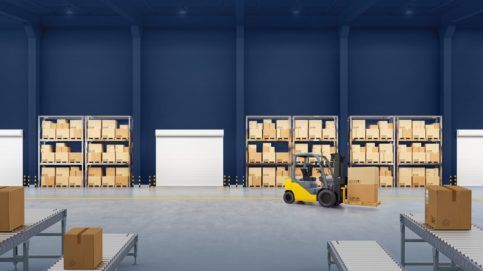 Forklift in warehouse filled with boxes