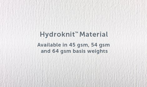 Sample of hyroknit material with product name and available weights printed on material