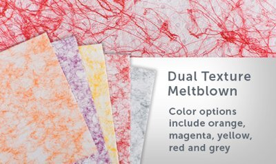 Orange, magenta, yellow, red and grey sheets of dual texture meltblown