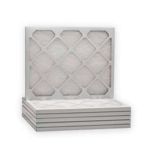 Stack of white air filters with top filter  upright