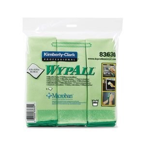 A package of green WypAll® microfiber wipes on a white background.