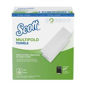 A box of Scott® multifold towels on a white background.