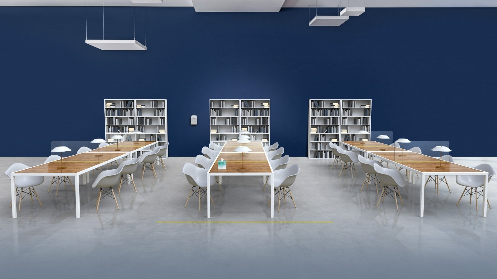 Rows of reading tables in library setting