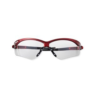 KleenGuard® safety glasses with black temples and blue mirror lenses against white background