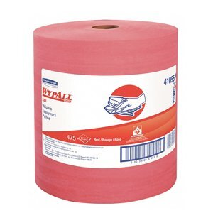 A roll of red WypAll X80 Extended Use Cloths on a white background