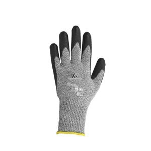Grey KleenGuard Level 5 Cut Resistant glove on a white background