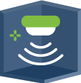 An icon featuring a sensing device with wifi.