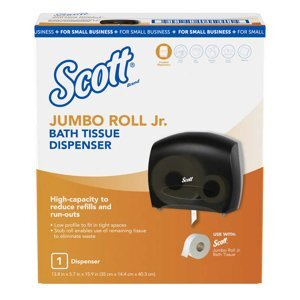 A Scott® jumbo roll jr. toilet tissue dipenser on a white background.
