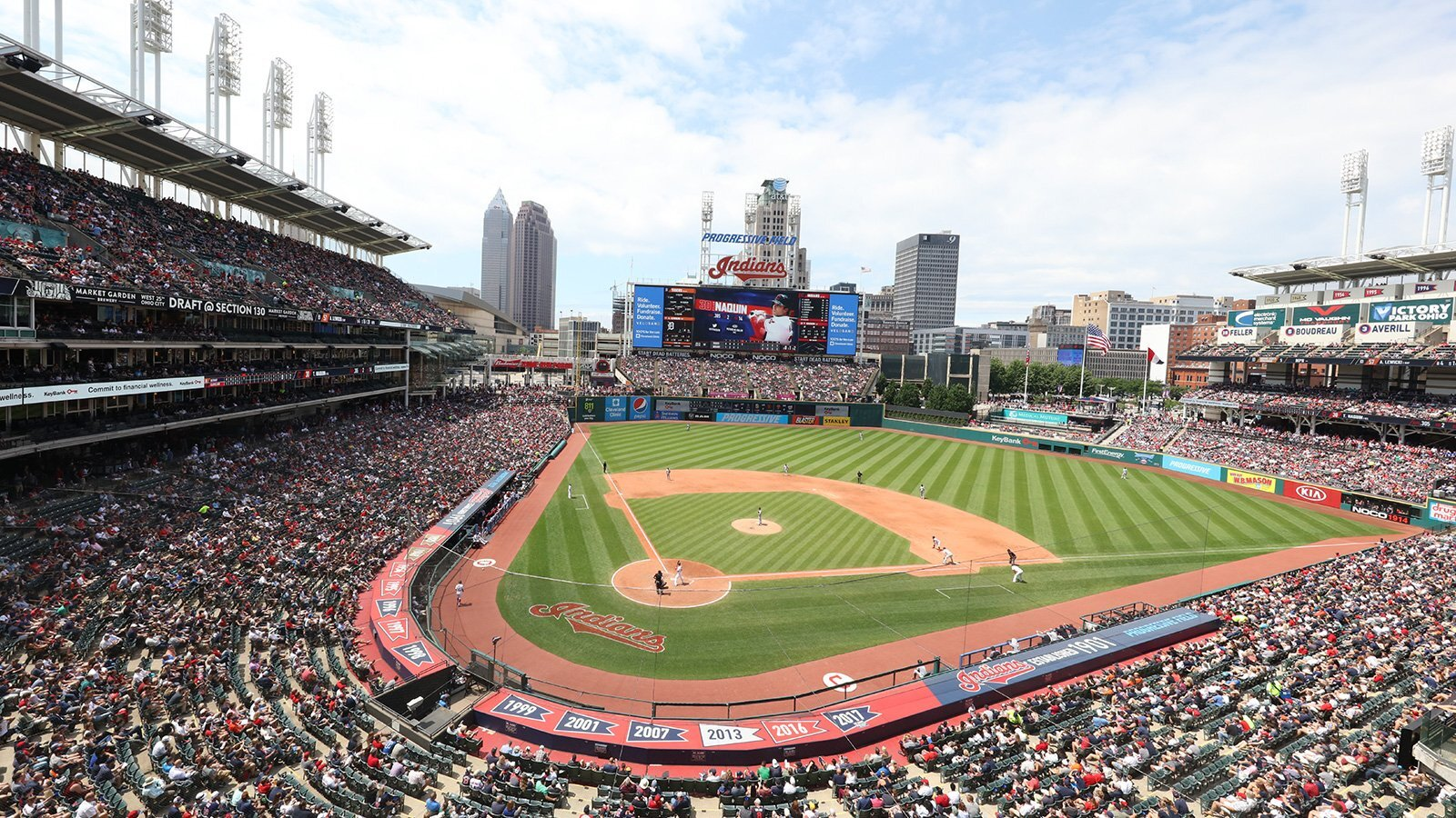 A baseball stadium filled with people